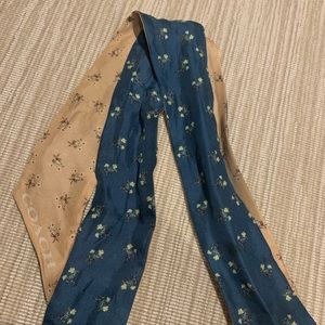 Coach Floral Print Reversible Silk Skinny Scarf